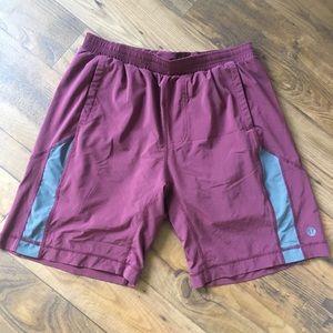 Lululemon Burgundy Grey Workout Shorts Mens Large